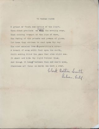 """TO THOMAS PAINE"" [poem]. Typed manuscript signed (TMsS), ribbon copy, eleven lines on..."