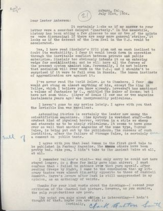 TYPED LETTER SIGNED (TLS), to Lester Anderson, dated 31 July 1934, ribbon copy, one sheet of...