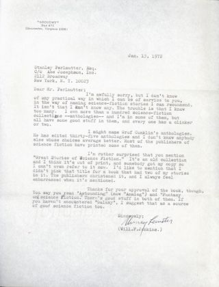 TYPED LETTER, SIGNED (TLS), to Stanley Perlmutter, dated 13 January 1972. One page on letter-size...