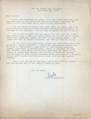 TYPED LETTER, SIGNED (TLS) to Gahan Wilson, 31 December 1977, half-page on letter-sized bond. Manley Wade Wellman.