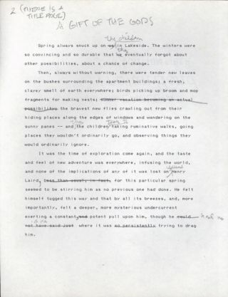 "'A GIFT OF THE GODS"" [Short story]. Typed manuscript (TMs), with numerous autograph edits. 30 hand-numbered leaves of letter-size bond written on one side only. Together with partial typed manuscript, six leaves, incorporating some revisions of the story. Gahan Wilson."