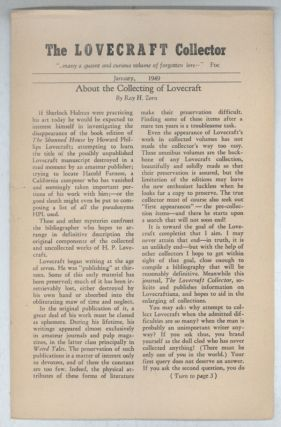 THE. January 1949 . LOVECRAFT COLLECTOR, Ray H. Zorn, number 1