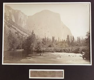 Yosemite Valley] El Capitan, 3600 feet. View from the foot of the Yosemite Valley. Albumen print....