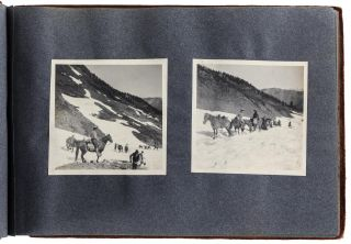 [High Sierra] Album of approximately 108 gelatin silver photographs recording the 1912 Sierra Club Annual Outing to the Kern River Canyon and Mt. Whitney, Volcano Creek, Mineral King, Farewell Gap, and other locations in or near Sequoia National Park.