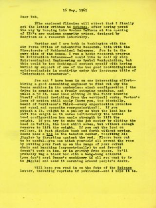 """TWO TYPEWRITTEN LETTERS SIGNED (TLsS), two pages, dated 23 March 1961 and one page, dated 26 November 1961, both written on his Colorado Springs, Colorado stationery, from Heinlein to """"Dear Harold"""" [Wooster], both signed """"Bob,"""" 1 TYPEWRITTEN LETTER SIGNED (TLS), one page, dated 12 July 1963, on ANALOG letterhead, from Campbell to """"Dear Mr. Wooster,"""" signed John W. Campbell, plus carbons of Wooster's letters to Heinlein and Graham DuShane, editor of SCIENCE."""