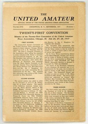 THE. September 1917 . UNITED AMATEUR, Verna McGeoch, number 1 volume 17