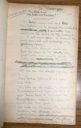 THE MESSENGER [Novelette]. Original handwritten manuscript, corrected throughout in Chambers' hand. 104 pages, written in pencil on the rectos of ruled paper measuring 32x20 cm. Not dated, but written circa 1896-1897.