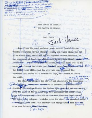 """THE BAGFUL OF DREAMS [Novelette]. Typescript, 35 pages. The second (first typewritten) draft, typed on one side only, heavily reworked by hand with some long passages written on versos. Not dated, but circa 1977 or earlier. Accompanied by a typed carbon copy of an alternate first page with handwritten continuation on the verso. This odd page is signed by Vance. Also present is four typed pages, probably from the 41-page typed final draft, as well as a one-page handwritten """"Moon Moth"""" fragment."""