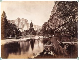 Yosemite Valley] Cathedral Rocks and the Merced River, Yosemite Valley, California. Albumen...