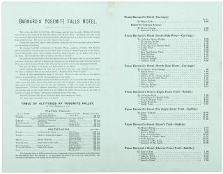 Barnard's Yosemite Falls Hotel. First hotel after entering the valley. Hot and cold baths at all hours. First-class barber shop. Strictly first-class! Location unsurpassed! Terms as reasonable as at any hotel in the valley [caption title].