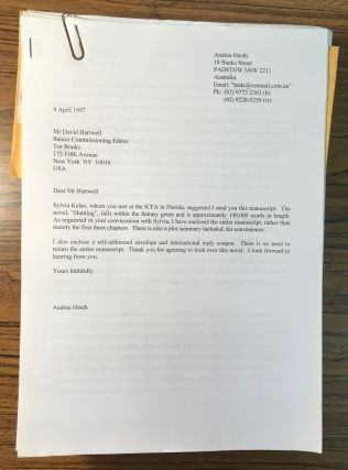HUNTING [Novel]. Typescript, computer generated in 1997. 517 pages, with submission letter and plot summary from Hösth to Tor Books senior editor David G. Hartwell dated 4 April 1997.