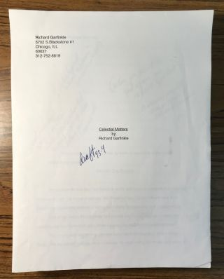 CELESTIAL MATTERS [Novel]. Typescript, computer generated in 1994. 282 pages, with submission letter from Garfinkle to Tor Books senior editor David G. Hartwell, not dated but circa summer 1994. First draft, heavily edited by Hartwell, plus correspondence regarding rewrites.