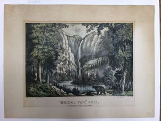 """Bridal Veil"" Fall, / Yo-semite Valley, California. CURRIER, IVES"