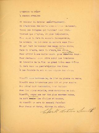 """L'ESPOIR DU NÉANT À GEORGE STERLING"" [poem]. TYPED MANUSCRIPT SIGNED (TMsS). 21 lines on full..."