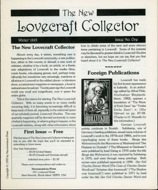 Howard Phillips Lovecraft, THE NEW LOVECRAFT COLLECTOR. Winter 1993-Fall 1998, numbers