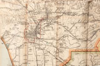 Scarborough's map of California showing all counties, townships, cities, villages, post-offices, principal highways, railroads with stations and distances, inter-urban electric railways, government and state reservations, etc. Completely indexed and accompanied by maps of San Francisco and vicinity, Los Angeles and vicinity, Yosemite Valley, Nevada, commercial chart of the Pacific, and Panama with comparative distance table.