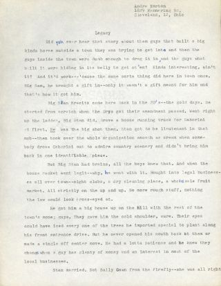 """LEGACY"" [short story]. TYPED MANUSCRIPT (TMs). Andre Norton"