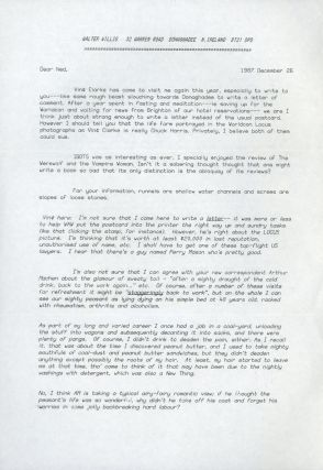 "TYPED LETTER SIGNED (TLS). 2 pages on a single sheet, dated 26 December 1987, to ""Ned"" Brooks..."
