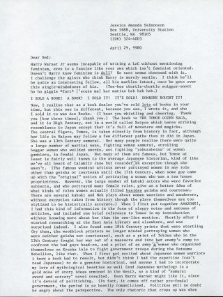"TYPED LETTER SIGNED (TLS). 2 1/2 pages on three sheets, dated 29 April 1980, to ""Ned"" (Cuyler..."
