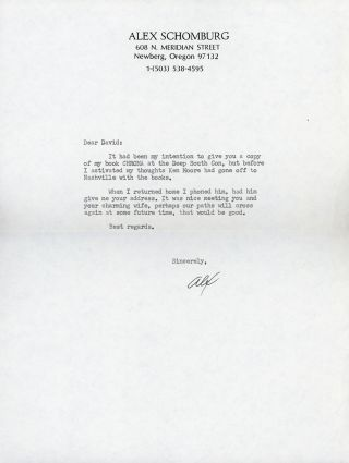"TYPED NOTE SIGNED (TNS). 1 page, not dated [circa 1986], to ""Dear David"" [David G. Hartwell],..."