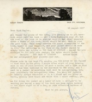"TYPED LETTER SIGNED (TLS). 1 page, dated 16 August 1957, to ""Dear Dick Taylor"" [Richard Taylor],..."