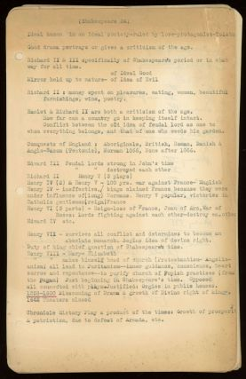 COLLEGE COURSE NOTES, probably circa 1937. Approximately fifty leaves, one leaf typed on recto...