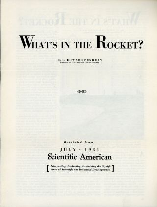 WHAT'S IN THE ROCKET? ... [cover title]. G. Edward Pendray