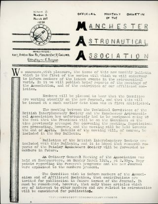 OFFICIAL MONTHLY BULLETIN OF THE MANCHESTER ASTRONAUTICAL ASSOCIATION. 20 March 1939 ., Eric...