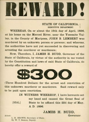 Reward! ... John B. Lembert was murdered ... I, James H. Budd, Governor of the State of...