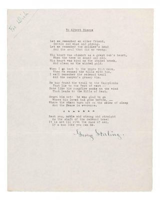 69 TYPED MANUSCRIPT POEMS (TMsS.), EACH SIGNED BY STERLING.