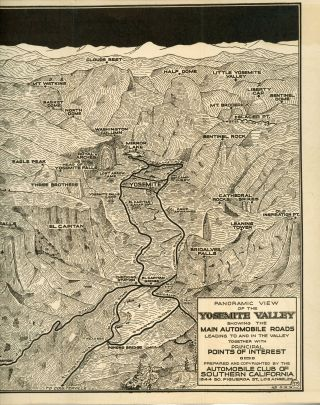 Panoramic view of the Yosemite Valley showing the main automobile roads leading to and in the valley together with principal points of interest. Price 15 cents. Prepared by the Route and Map Service Department of the Automobile Club of Southern California ... [cover title].