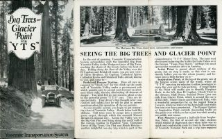 "Big Trees -- Glacier Point via ""Y T S"" [cover title]. YOSEMITE TRANSPORTATION SYSTEM"