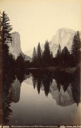Yosemite Valley] Washington Column and Half Dome and reflection. Albumen photograph. ISAIAH WEST...