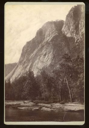 Yosemite Valley] Untitled [Merced River and valley wall below Glacier Point]. Albumen print....