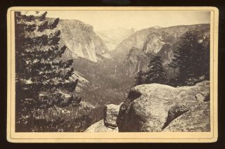 Yosemite Valley] The Yosemite Valley, from the Mariposa Trail. Albumen print. CARLETON E. WATKINS