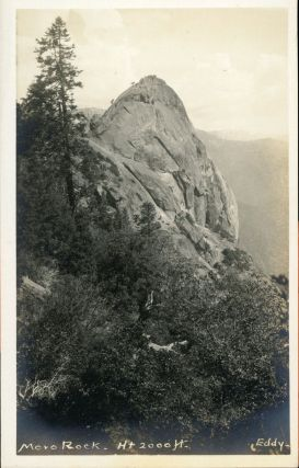 Sequoia National Park] Moro Rock -- Ht 2000 ft. Real photo postcard (RPPC). LINDLEY EDDY STUDIOS