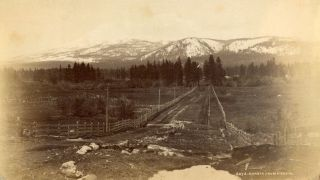Mount Shasta] Shasta from Sissons. Albumen print. JAMES WILLIAM? ANONYMOUS PHOTOGRAPHER. BUEL