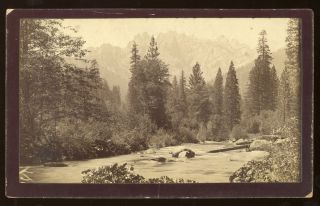 Castle Crags] Castle Crags from the Sacramento River [title supplied]. Albumen print. A. H. GREEN