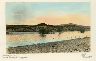 "Arizona; Yavapai County] ""Lake Watson near Prescott, Arizona."" Hand-colored photograph. EVAN C...."