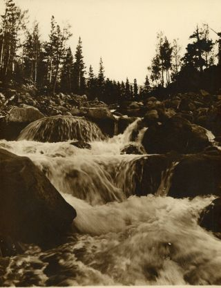 [High Sierra] Eight photographs of the Kings River Canyon High Sierra: The Great Western Divide and Rae Lake and Fin Dome [title supplied]. Monochrome sepia prints.