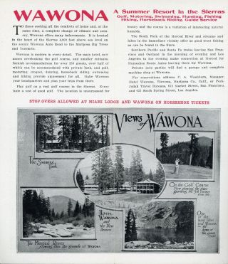 """Yosemite Mariposa Big Trees """"The Horseshoe Route"""" ... Make all arrangements for this trip thru the offices of the Peck-Judah Co. San Francisco 672 Market St. Seattle 118 Cherry St. Los Angeles 623 So. Spring St. Tickets on sale at principal railroad offices in California [cover title]."""