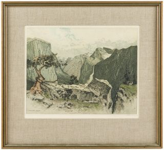 Yosemite Valley from Artist's Point. Color etching. JOSEF EIDENBERGER