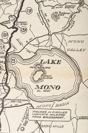 Automobile road map from Mono Lake to Lake Tahoe and Feather River region showing resorts, camp sites, fishing streams, lakes, mtn. peaks, and trails ... Copyright by Automobile Club of Southern California. 2601 So. Figueroa St. Los Angeles.