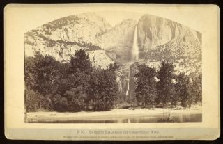 Yosemite Valley] Yo Semite Falls from the Cosmopolitan Walk. Albumen print. CARLETON E. WATKINS