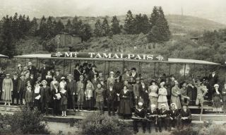 ORIGINAL PANORAMIC PHOTOGRAPH OF A 1918 OUTING ON THE MOUNT TAMALPAIS AND MUIR WOODS RAILWAY.