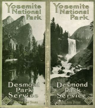 Yosemite National Park hotels and tours [cover title]. DESMOND PARK SERVICE COMPANY