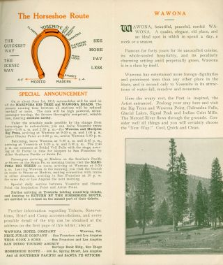 Yosemite Mariposa Big Trees the new way ... Literature, reservations and tickets of C. A. Wilcomb Agent Yosemite, Cal [cover title].