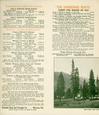 """Yosemite Mariposa Big Trees """"the Horseshoe Route"""" ... Literature, reservations and tickets of Peck-Judah Company 687 Market Street, San Francisco. 623 South Spring Street, Los Angeles [cover title]."""