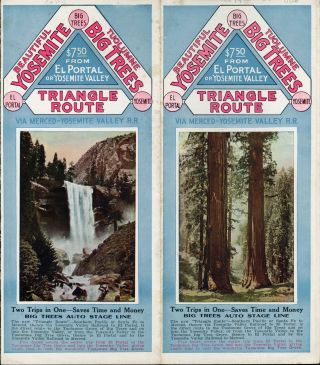 Beautiful Yosemite Tuolumne Big Trees Triangle Route via Merced -- Yosemite Valley R. R. Two...