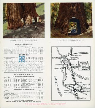 """Beautiful Yosemite Tuolumne Big Trees Triangle Route via Merced -- Yosemite Valley R. R. Two trips in one -- saves time and money[.] Big Trees Auto Stage Line[.] The new """"Triangle Route"""" -- Southern Pacific or Santa Fe to Merced, thence via Yosemite Valley Railroad to El Portal, is the direct route to the Tuolumne Grove of Big Trees and on into the Yosemite Valley, or from the Yosemite Valley to the Tuolumne Big Tree Grove, thence to El Portal and by Yosemite Valley Railroad to Merced. Five hours covers the entire trip from El Portal to the Tuolumne Big Tree Grove and into the Yosemite Valley, giving ample time to visit the wonderful Tuolumne Big Tree grove [cover title]."""